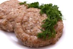 Carne sin procesar de la hamburguesa Imagen de archivo libre de regalías