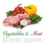 Carne sin procesar y pimienta Foto de archivo