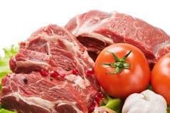 Carne sin procesar y verduras frescas Imágenes de archivo libres de regalías