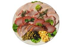 Carne sortido em uma placa Fotografia de Stock