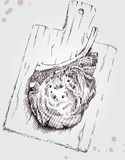 Carne su un bordo di legno Immagine Stock