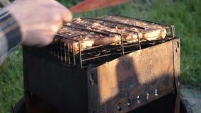 A carne suculenta é fritada no carvão vegetal vídeos de arquivo