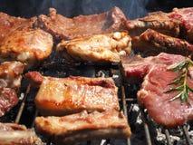 A carne suculenta Roasted cozinhou sobre os carvões em um assado fotos de stock