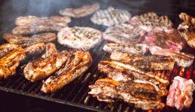 A carne suculenta Roasted cozinhou sobre os carvões em um assado na noite fotos de stock royalty free