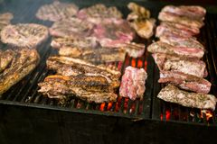 A carne suculenta Roasted cozinhou sobre os carvões em um assado na noite imagem de stock