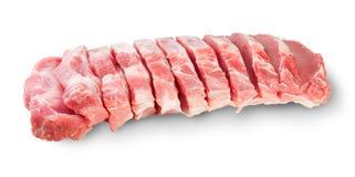 Carne suina affettata cruda Fotografia Stock