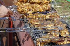 Carne suina che è cucinata sul fuoco aperto Immagine Stock Libera da Diritti