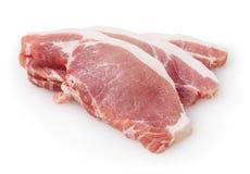 Carne suina cruda isolata su bianco Immagini Stock Libere da Diritti