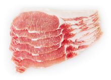 Carne suina cruda isolata su bianco fotografia stock
