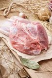 Carne suina cruda - vino del Reno, gamba o articolazione Carne fresca ed ingredienti immagini stock