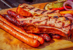 Carne suina rumena grigliata Fotografia Stock Libera da Diritti