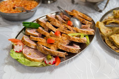 Carne suina slovacca dell'alimento sulla tavola di buffet Immagine Stock Libera da Diritti