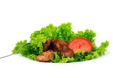 Carne sulla lattuga di foglio Immagini Stock Libere da Diritti