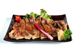 Carne Teriyaki de Wagyu, isolado na pancadinha branca do grampeamento do fundo Imagens de Stock Royalty Free