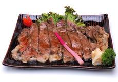 Carne Teriyaki de Wagyu, isolado na pancadinha branca do grampeamento do fundo Fotografia de Stock