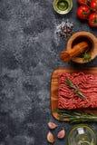 Carne tritata con le spezie, erbe, olio d'oliva immagine stock