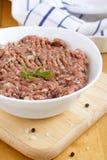 Carne triturada crua Imagens de Stock