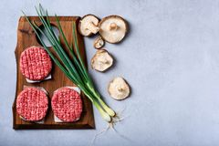 Carne triturada crua fresca, rissóis do hamburguer, cozinhando ingredientes, plano imagens de stock