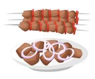 Carne, vegetariano, spiedi dei frutti di mare con i pezzi Shashlik barbecue Pagina e calca piane del sito Web di kebab dell'illus illustrazione di stock