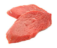 Carne vermelha cortada isolada no branco fotos de stock royalty free