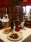 Carne, vinho e camarão Fotografia de Stock Royalty Free