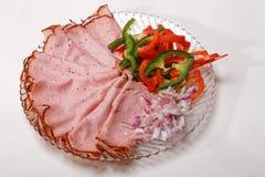 Carne y cebollas curadas cortadas del bocadillo Foto de archivo libre de regalías