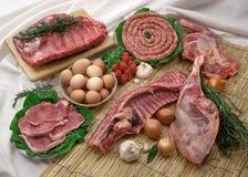 Carne y huevos Imagen de archivo libre de regalías