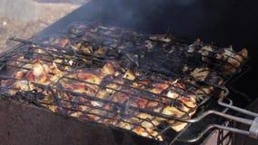 Carne y pan de la fritada en el fuego Llamas reales en el fuego con los registros ardientes almacen de metraje de vídeo