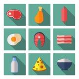 Carne y productos lácteos que contienen la proteína animal Iconos planos del vector fijados ilustración del vector