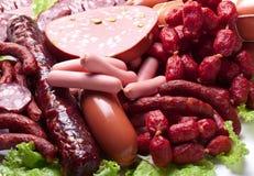 Carne y salchichas. Foto de archivo libre de regalías