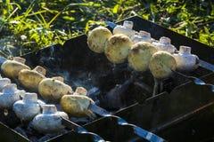 Carne y setas asadas a la parrilla Foto de archivo libre de regalías