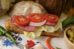 Carne y tomates rebanados Foto de archivo