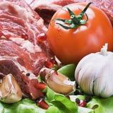 Carne y verduras frescas Imagen de archivo libre de regalías
