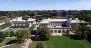 Carnegie Mellon University in Pittsburgh, Pennsylvania, United States. College of Fine Arts and Play Fields in Background