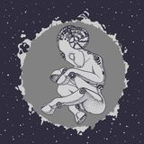 Carneiros antropomórficos do sono na bola da energia no espaço Fotografia de Stock Royalty Free