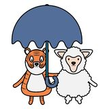 Carneiros bonitos e tigre com guarda-chuva ilustração do vetor