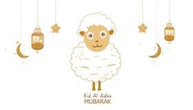 Carneiros com crescentes, lâmpada e estrelas Lanterna tradicional do cartão das noites da ramadã ilustração stock