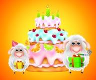 Carneiros com presente e bolo de aniversário Fotos de Stock Royalty Free