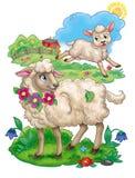 Carneiros da mãe que olham o cordeiro do bebê que corre happilly através da ilustração bonita do prado verde ilustração stock