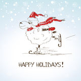 Carneiros de esboço engraçados - símbolo do ano novo 2015 Fotos de Stock Royalty Free