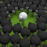 Carneiros diferentes do branco na ilustração da grama verde 3d Fotografia de Stock