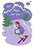 Carneiros do ano novo no esqui Imagens de Stock