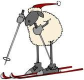 Carneiros do feriado em esquis da neve ilustração stock