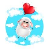 carneiros dos desenhos animados no amor com balão do coração Imagens de Stock Royalty Free