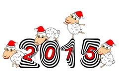 Carneiros engraçados dos desenhos animados do Natal Foto de Stock