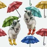 Carneiros nas botas de borracha e com um guarda-chuva Teste padrão sem emenda no fundo branco chuvoso ilustração do vetor