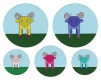 Carneiros nos ícones redondos do prado ajustados Imagem de Stock Royalty Free