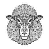 Carneiros principais Testes padrões étnicos Ilustração tirada mão do vetor com elementos florais Cordeiro, símbolo animal Imagem de Stock
