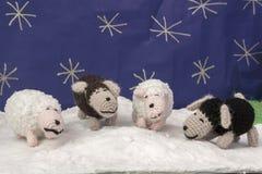 Carneiros scenary da neve dos ofícios das decorações do Xmas Fotografia de Stock