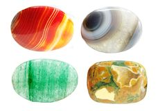 Carnelian agate jasper avanturine semiprecious geological crysta Royalty Free Stock Photos